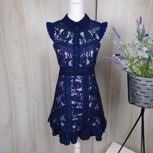 Three Floor Juniper Lace Navy Party Dress